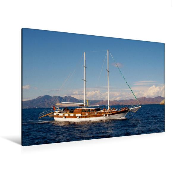 Premium Textil-Leinwand 120 cm x 80 cm quer, Gulet auf Blauer Reise | Wandbild, Bild auf Keilrahmen, Fertigbild auf echter Leinwand, Leinwanddruck - Coverbild