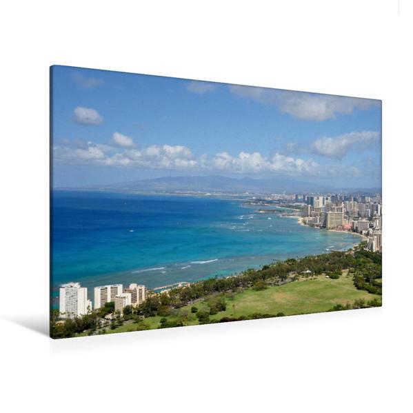 Premium Textil-Leinwand 120 cm x 80 cm quer, Honolulu vom Diamond Head, Oahu | Wandbild, Bild auf Keilrahmen, Fertigbild auf echter Leinwand, Leinwanddruck - Coverbild