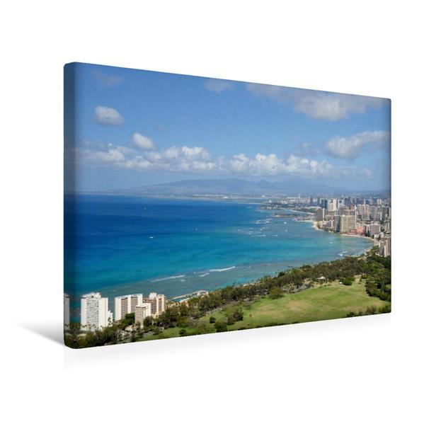 Premium Textil-Leinwand 45 cm x 30 cm quer, Honolulu vom Diamond Head, Oahu | Wandbild, Bild auf Keilrahmen, Fertigbild auf echter Leinwand, Leinwanddruck - Coverbild