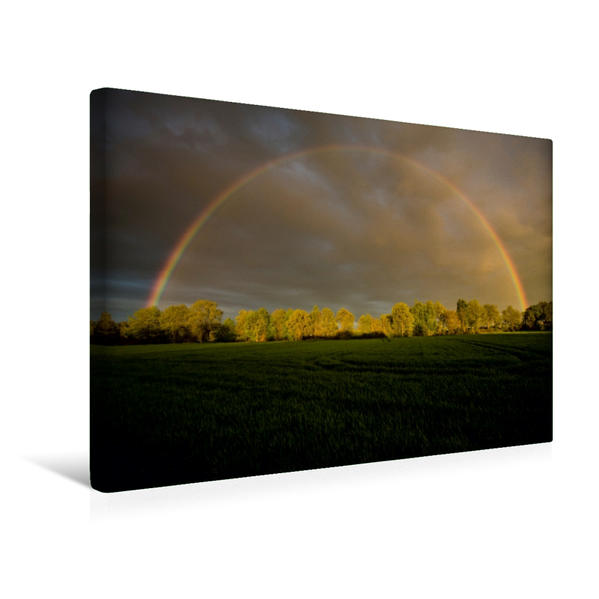 Premium Textil-Leinwand 45 cm x 30 cm quer, Regenbogen in Klein Wesenberg | Wandbild, Bild auf Keilrahmen, Fertigbild auf echter Leinwand, Leinwanddruck - Coverbild
