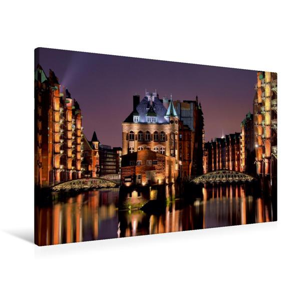 Premium Textil-Leinwand 90 cm x 60 cm quer, Wasserschloss | Wandbild, Bild auf Keilrahmen, Fertigbild auf echter Leinwand, Leinwanddruck - Coverbild