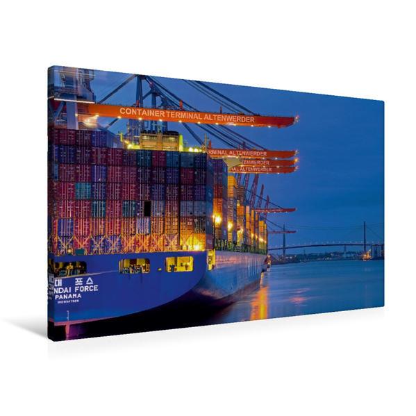 Premium Textil-Leinwand 90 cm x 60 cm quer, Terminal Altenwerder   Wandbild, Bild auf Keilrahmen, Fertigbild auf echter Leinwand, Leinwanddruck - Coverbild