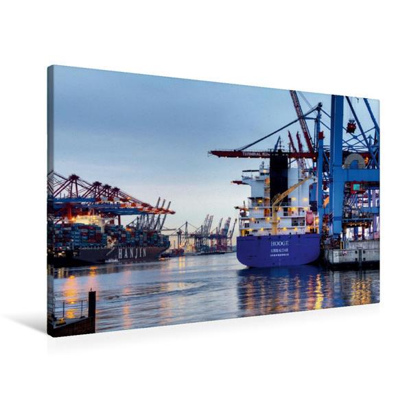 Premium Textil-Leinwand 90 cm x 60 cm quer, Hafen Waltershof | Wandbild, Bild auf Keilrahmen, Fertigbild auf echter Leinwand, Leinwanddruck - Coverbild