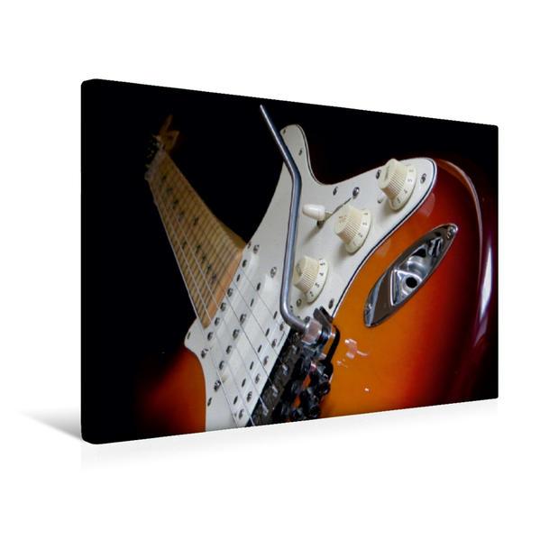 Premium Textil-Leinwand 45 cm x 30 cm quer, KULT GITARRE - Richie Sambora Stratocaster   Wandbild, Bild auf Keilrahmen, Fertigbild auf echter Leinwand, Leinwanddruck - Coverbild