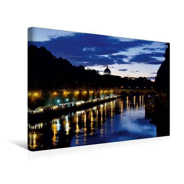 Premium Textil-Leinwand 45 cm x 30 cm quer, Sonnenuntergang am Tiber | Wandbild, Bild auf Keilrahmen, Fertigbild auf echter Leinwand, Leinwanddruck - Coverbild