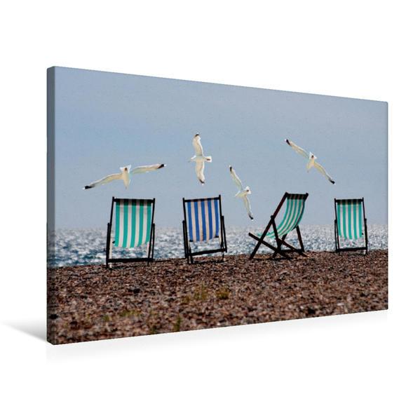 Premium Textil-Leinwand 75 cm x 50 cm quer, Möven am Strand | Wandbild, Bild auf Keilrahmen, Fertigbild auf echter Leinwand, Leinwanddruck - Coverbild