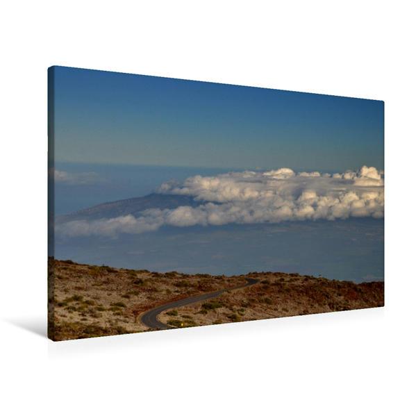 Premium Textil-Leinwand 90 cm x 60 cm quer, Wolken über West Maui Forrest Reserve - Hawaii | Wandbild, Bild auf Keilrahmen, Fertigbild auf echter Leinwand, Leinwanddruck - Coverbild