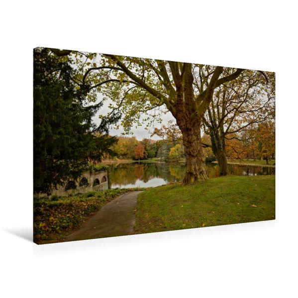 Premium Textil-Leinwand 75 cm x 50 cm quer, Herbsttag am Mühlenteich | Wandbild, Bild auf Keilrahmen, Fertigbild auf echter Leinwand, Leinwanddruck - Coverbild