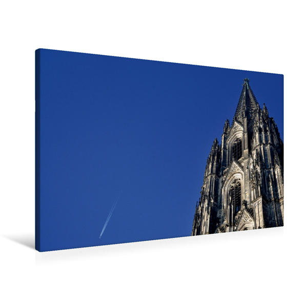 Premium Textil-Leinwand 90 cm x 60 cm quer, Kölner Dom | Wandbild, Bild auf Keilrahmen, Fertigbild auf echter Leinwand, Leinwanddruck - Coverbild