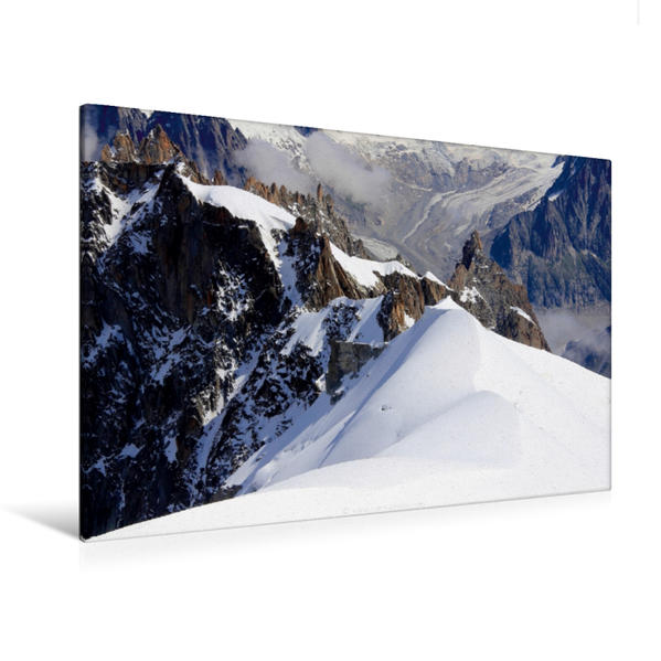 Premium Textil-Leinwand 120 cm x 80 cm quer, Mont-Blanc Massif, Frankreich | Wandbild, Bild auf Keilrahmen, Fertigbild auf echter Leinwand, Leinwanddruck - Coverbild