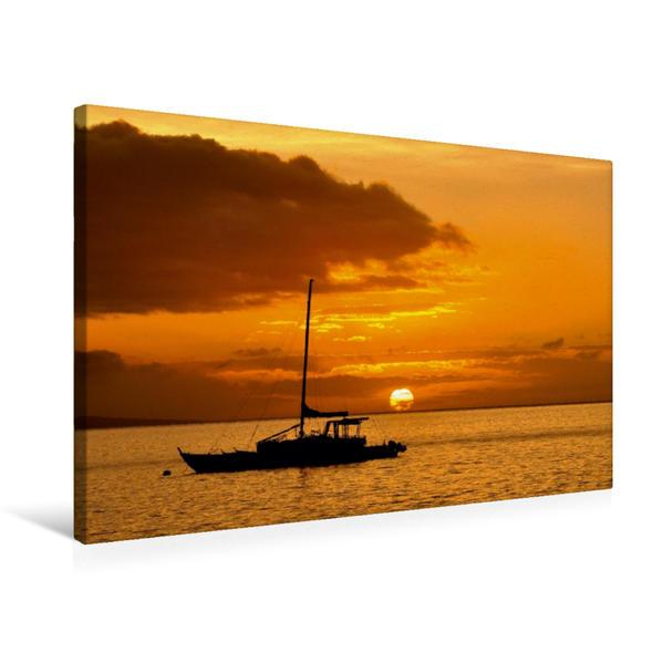 Premium Textil-Leinwand 75 cm x 50 cm quer, Sonnenuntergang   Wandbild, Bild auf Keilrahmen, Fertigbild auf echter Leinwand, Leinwanddruck - Coverbild