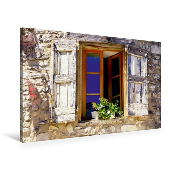 Premium Textil-Leinwand 90 cm x 60 cm quer, Der Himmel in der Fensterscheibe | Wandbild, Bild auf Keilrahmen, Fertigbild auf echter Leinwand, Leinwanddruck - Coverbild