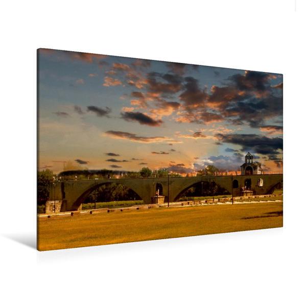 Premium Textil-Leinwand 120 cm x 80 cm quer, Pont St-Bénézet in Avignon | Wandbild, Bild auf Keilrahmen, Fertigbild auf echter Leinwand, Leinwanddruck - Coverbild