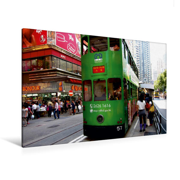 Premium Textil-Leinwand 120 cm x 80 cm quer, Alte Straßenbahn auf Hongkong Island   Wandbild, Bild auf Keilrahmen, Fertigbild auf echter Leinwand, Leinwanddruck - Coverbild