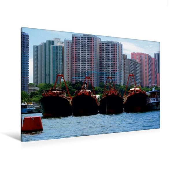 Premium Textil-Leinwand 120 cm x 80 cm quer, Schiffe im Hafen | Wandbild, Bild auf Keilrahmen, Fertigbild auf echter Leinwand, Leinwanddruck - Coverbild