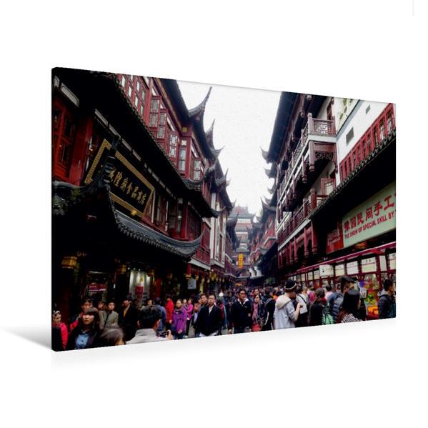 Premium Textil-Leinwand 120 cm x 80 cm quer, Alte chinesische Architektur im Yu-Yuan-Garten Areal   Wandbild, Bild auf Keilrahmen, Fertigbild auf echter Leinwand, Leinwanddruck - Coverbild