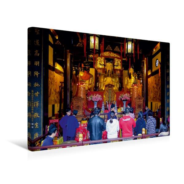 Premium Textil-Leinwand 45 cm x 30 cm quer, Andächtige in einem Tempel | Wandbild, Bild auf Keilrahmen, Fertigbild auf echter Leinwand, Leinwanddruck - Coverbild
