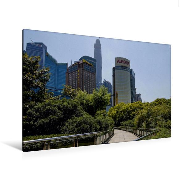 Premium Textil-Leinwand 120 cm x 80 cm quer, Moderne Architektur im Stadtzentrum von Shanghai | Wandbild, Bild auf Keilrahmen, Fertigbild auf echter Leinwand, Leinwanddruck - Coverbild