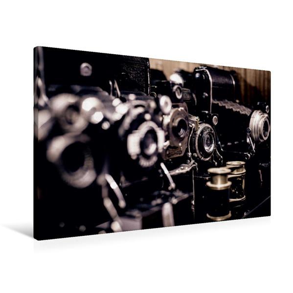 Premium Textil-Leinwand 90 cm x 60 cm quer, Sammlung historischer Fotoapparate | Wandbild, Bild auf Keilrahmen, Fertigbild auf echter Leinwand, Leinwanddruck - Coverbild