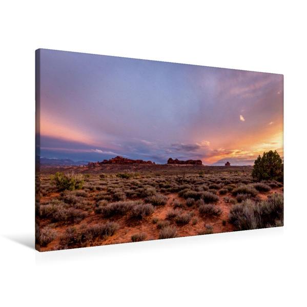 Premium Textil-Leinwand 90 cm x 60 cm quer, Arches National Park | Wandbild, Bild auf Keilrahmen, Fertigbild auf echter Leinwand, Leinwanddruck - Coverbild