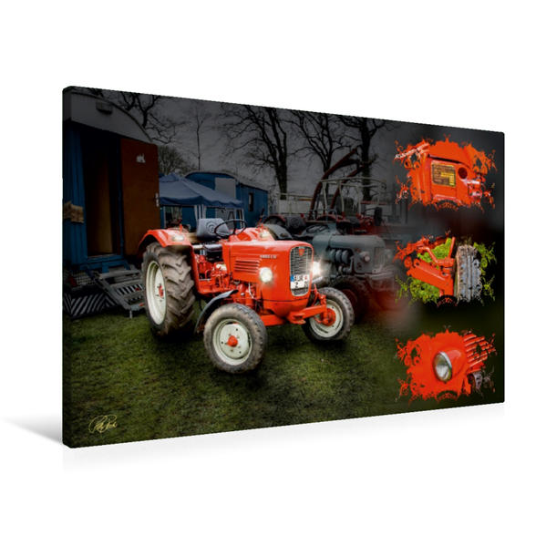 Premium Textil-Leinwand 90 cm x 60 cm quer, Oldtimer Traktor Güldner   Wandbild, Bild auf Keilrahmen, Fertigbild auf echter Leinwand, Leinwanddruck - Coverbild