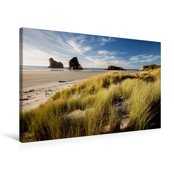 Premium Textil-Leinwand 75 cm x 50 cm quer, Wharariki Beach - Südinsel | Wandbild, Bild auf Keilrahmen, Fertigbild auf echter Leinwand, Leinwanddruck - Coverbild