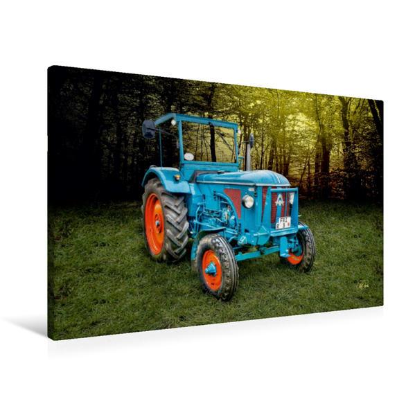 Premium Textil-Leinwand 90 cm x 60 cm quer, Oldtimer Traktor Hanomag | Wandbild, Bild auf Keilrahmen, Fertigbild auf echter Leinwand, Leinwanddruck - Coverbild
