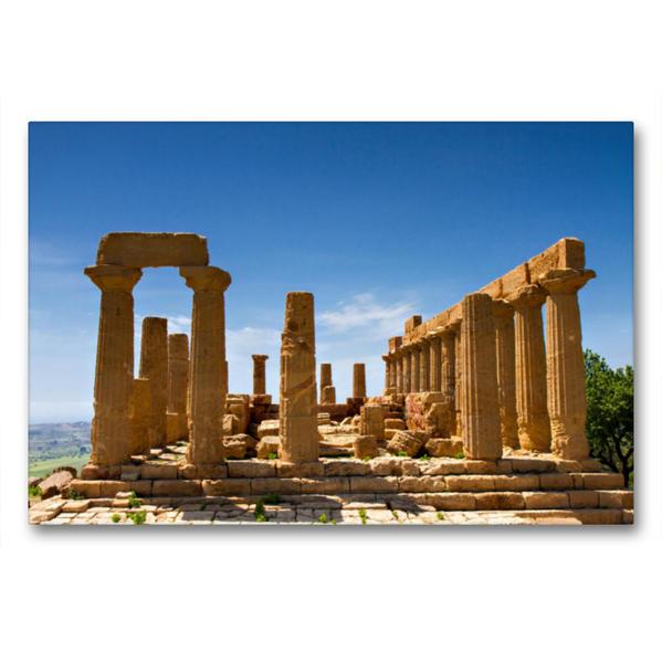 Premium Textil-Leinwand 90 cm x 60 cm quer, Agrigent - Juno Tempel | Wandbild, Bild auf Keilrahmen, Fertigbild auf echter Leinwand, Leinwanddruck - Coverbild