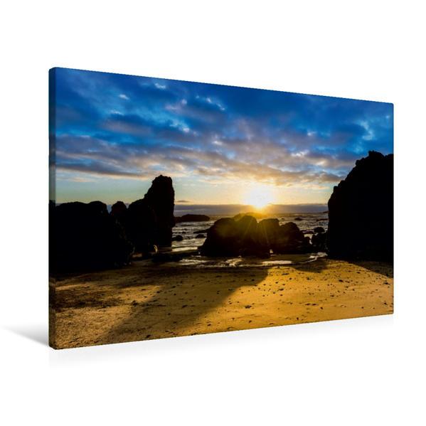 Premium Textil-Leinwand 90 cm x 60 cm quer, Strandabschnitt bei Lincoln City | Wandbild, Bild auf Keilrahmen, Fertigbild auf echter Leinwand, Leinwanddruck - Coverbild