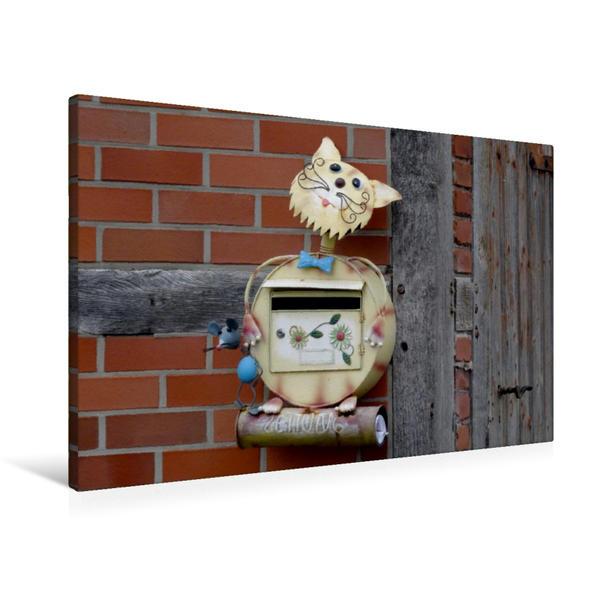 Premium Textil-Leinwand 90 cm x 60 cm quer, Briefkasten-Katze   Wandbild, Bild auf Keilrahmen, Fertigbild auf echter Leinwand, Leinwanddruck - Coverbild