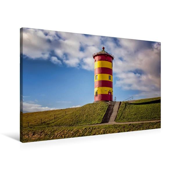 Premium Textil-Leinwand 90 cm x 60 cm quer, Leuchtturm Pilsum | Wandbild, Bild auf Keilrahmen, Fertigbild auf echter Leinwand, Leinwanddruck - Coverbild