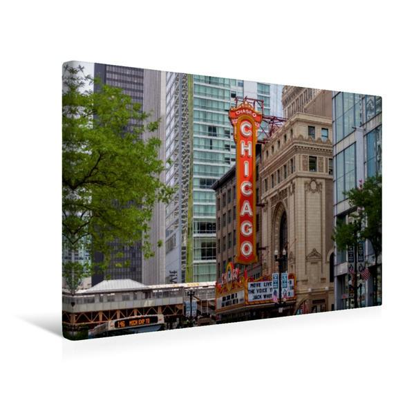 Premium Textil-Leinwand 45 cm x 30 cm quer, CHICAGO State Street | Wandbild, Bild auf Keilrahmen, Fertigbild auf echter Leinwand, Leinwanddruck - Coverbild