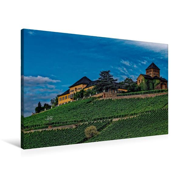 Premium Textil-Leinwand 90 cm x 60 cm quer, Schloss Johannisberg mit Basilika | Wandbild, Bild auf Keilrahmen, Fertigbild auf echter Leinwand, Leinwanddruck - Coverbild