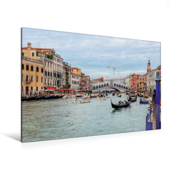 Premium Textil-Leinwand 120 cm x 80 cm quer, Riva del Carbon, Rialto | Wandbild, Bild auf Keilrahmen, Fertigbild auf echter Leinwand, Leinwanddruck - Coverbild