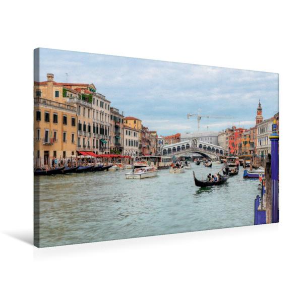 Premium Textil-Leinwand 75 cm x 50 cm quer, Riva del Carbon, Rialto | Wandbild, Bild auf Keilrahmen, Fertigbild auf echter Leinwand, Leinwanddruck - Coverbild