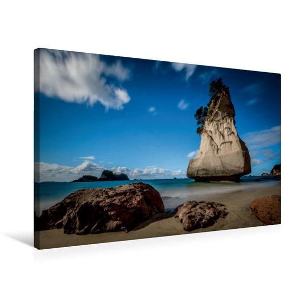 Premium Textil-Leinwand 75 cm x 50 cm quer, Cathedral Cove Beach | Wandbild, Bild auf Keilrahmen, Fertigbild auf echter Leinwand, Leinwanddruck - Coverbild