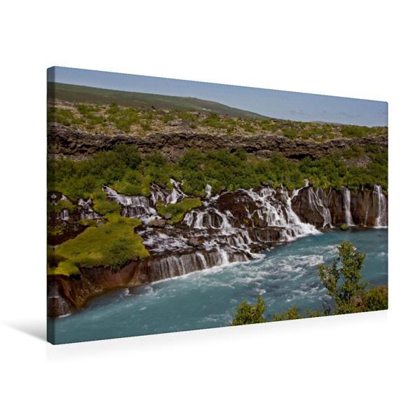 Premium Textil-Leinwand 75 cm x 50 cm quer, Am Hraunfossar   Wandbild, Bild auf Keilrahmen, Fertigbild auf echter Leinwand, Leinwanddruck - Coverbild