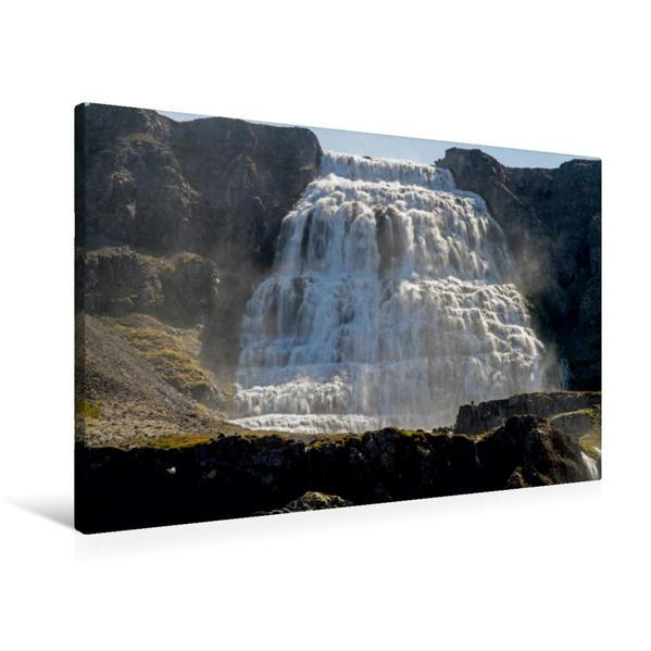 Premium Textil-Leinwand 90 cm x 60 cm quer, Am Dynjandi   Wandbild, Bild auf Keilrahmen, Fertigbild auf echter Leinwand, Leinwanddruck - Coverbild