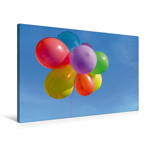 Premium Textil-Leinwand 90 cm x 60 cm quer, Luftballons am blauen Himmel | Wandbild, Bild auf Keilrahmen, Fertigbild auf echter Leinwand, Leinwanddruck - Coverbild