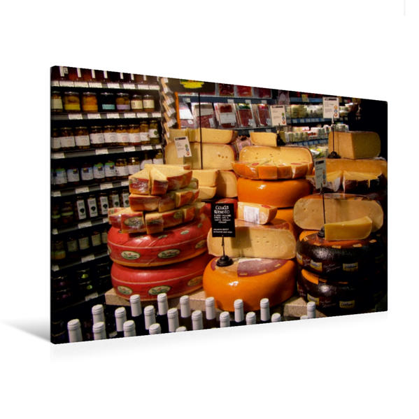 Premium Textil-Leinwand 120 cm x 80 cm quer, Gouda-Variationen | Wandbild, Bild auf Keilrahmen, Fertigbild auf echter Leinwand, Leinwanddruck - Coverbild