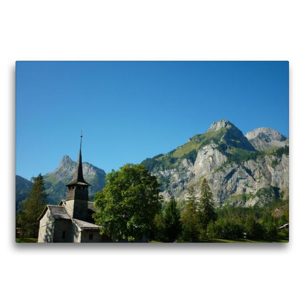 Premium Textil-Leinwand 75 cm x 50 cm quer, Kirche von Kandersteg | Wandbild, Bild auf Keilrahmen, Fertigbild auf echter Leinwand, Leinwanddruck - Coverbild