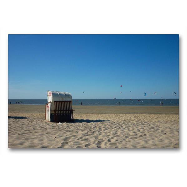 Premium Textil-Leinwand 90 cm x 60 cm quer, Strandkorb an der Nordsee | Wandbild, Bild auf Keilrahmen, Fertigbild auf echter Leinwand, Leinwanddruck - Coverbild
