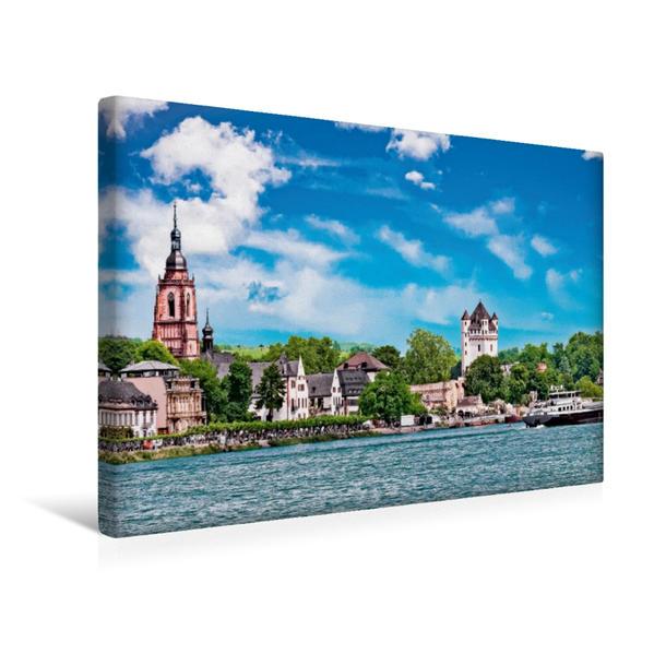 Premium Textil-Leinwand 45 cm x 30 cm quer, Blick vom Rhein auf die Altstadt | Wandbild, Bild auf Keilrahmen, Fertigbild auf echter Leinwand, Leinwanddruck - Coverbild