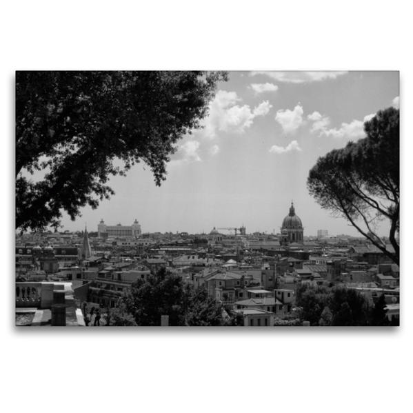 Premium Textil-Leinwand 120 cm x 80 cm quer, Über den Dächern von Rom | Wandbild, Bild auf Keilrahmen, Fertigbild auf echter Leinwand, Leinwanddruck - Coverbild