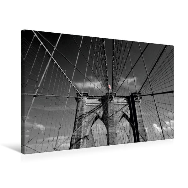 Premium Textil-Leinwand 75 cm x 50 cm quer, NYC Brooklyn Bridge | Wandbild, Bild auf Keilrahmen, Fertigbild auf echter Leinwand, Leinwanddruck - Coverbild