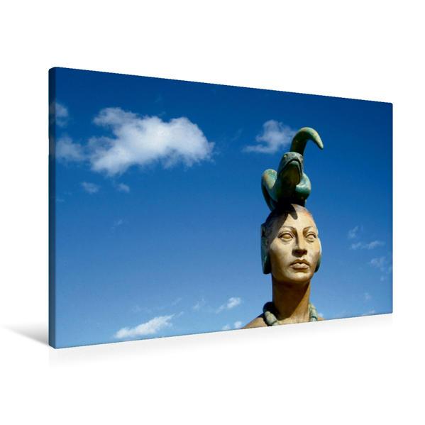 Premium Textil-Leinwand 90 cm x 60 cm quer, Ixchel, Mond- und Fruchtbarkeitsgöttin der Maya auf Isla Mujers, der Fraueninsel in der Karibik | Wandbild, Bild auf Keilrahmen, Fertigbild auf echter Leinwand, Leinwanddruck - Coverbild