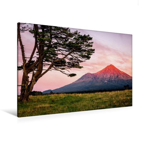 Premium Textil-Leinwand 120 cm x 80 cm quer, Mount Taranaki - Nordinsel | Wandbild, Bild auf Keilrahmen, Fertigbild auf echter Leinwand, Leinwanddruck - Coverbild