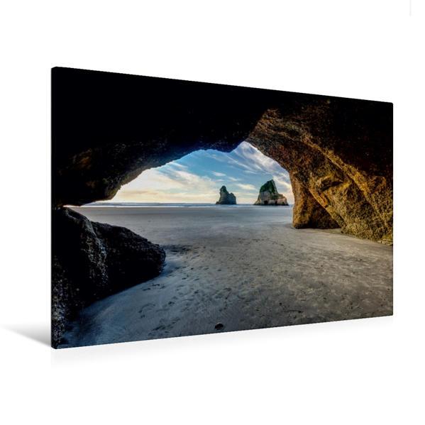 Premium Textil-Leinwand 120 cm x 80 cm quer, Wharariki Beach | Wandbild, Bild auf Keilrahmen, Fertigbild auf echter Leinwand, Leinwanddruck - Coverbild