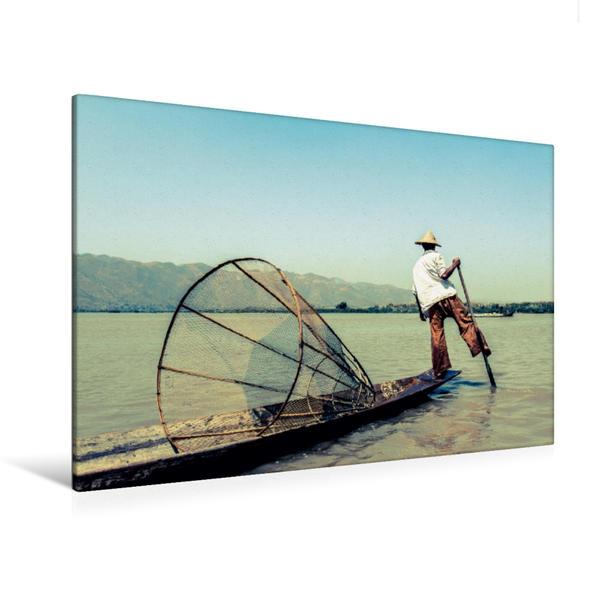 Premium Textil-Leinwand 120 cm x 80 cm quer, Einbeinfischer auf dem Inle See | Wandbild, Bild auf Keilrahmen, Fertigbild auf echter Leinwand, Leinwanddruck - Coverbild