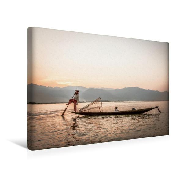 Premium Textil-Leinwand 45 cm x 30 cm quer, Einbeinfischer und Sohn | Wandbild, Bild auf Keilrahmen, Fertigbild auf echter Leinwand, Leinwanddruck - Coverbild